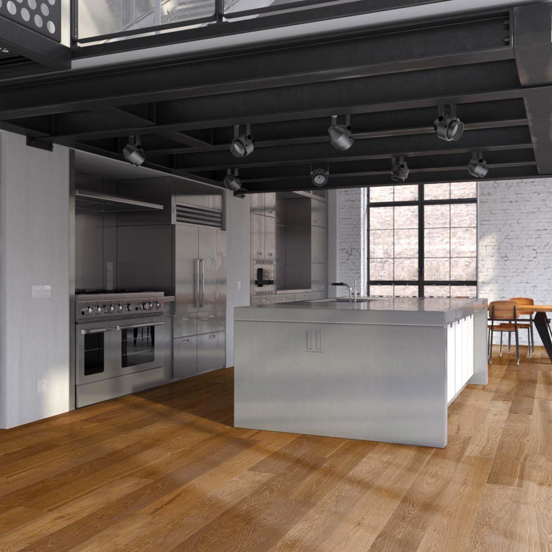 Eiche Parkett Angerauchert In Kuche Industrie Kuche Moderne Kuchenideen Beton Look