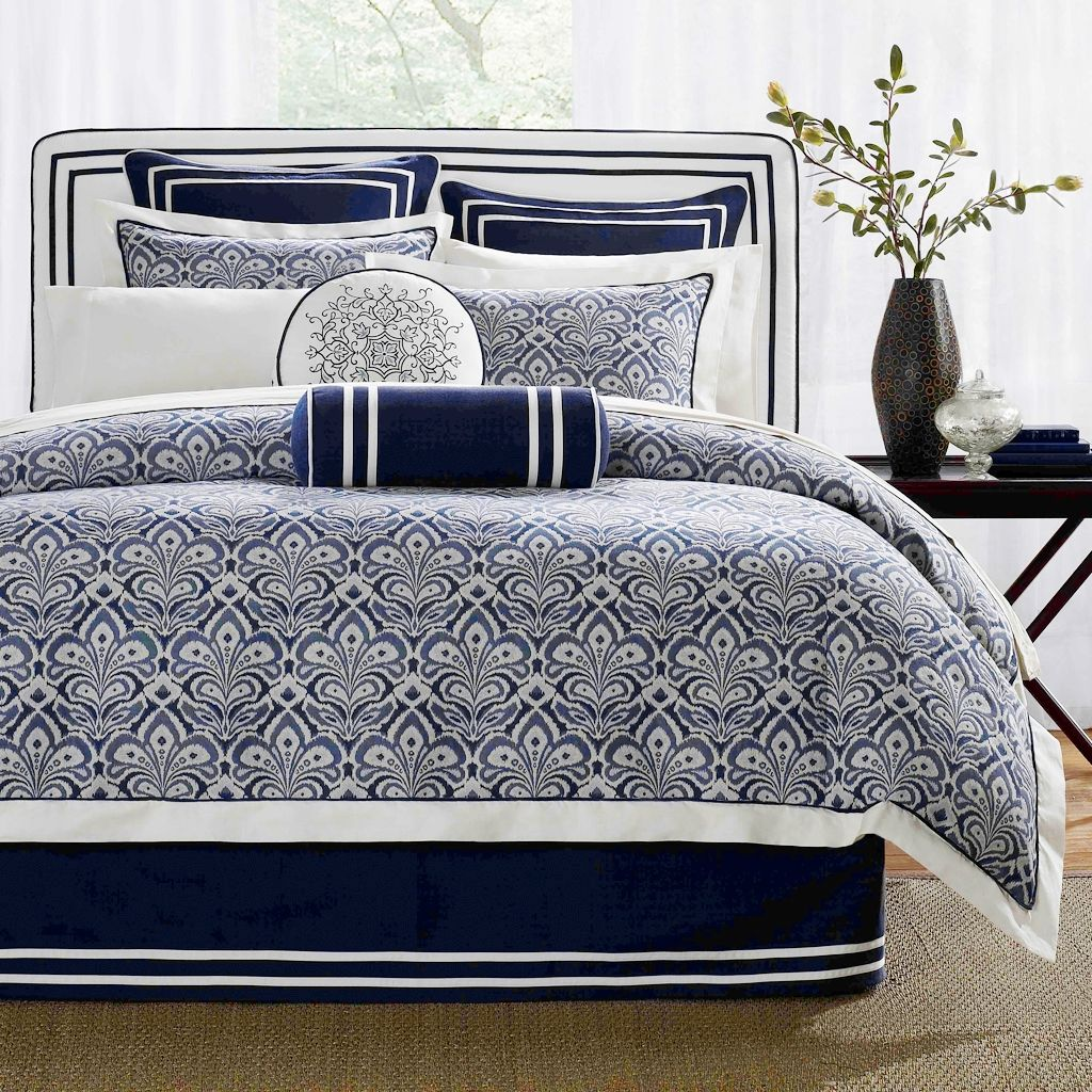 simple classic bedroom with dark blue white bedding sets hampton