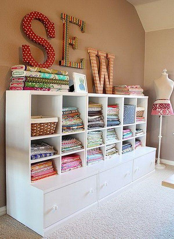 Sewing room storage organization ideas fabric storage for Sewing room design ideas small space