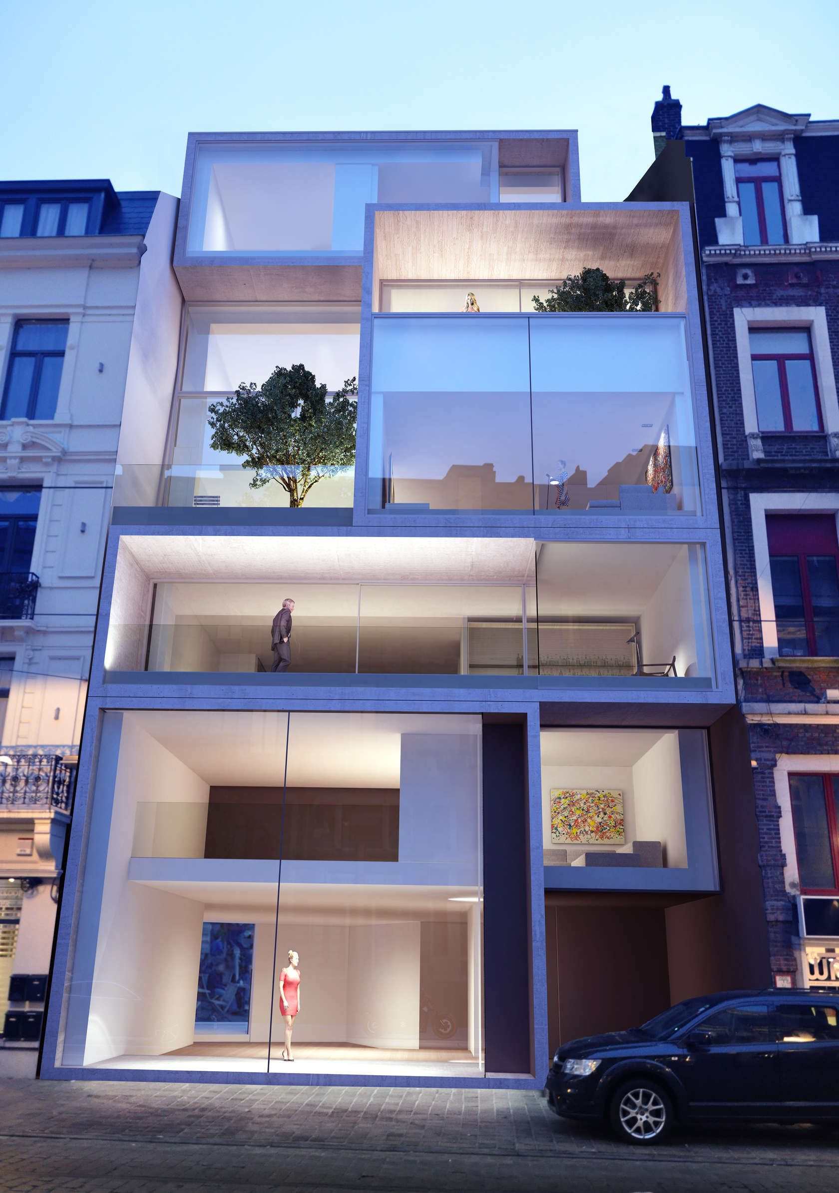 Located In The Heart Of Medieval Ghent City A Heartless 70 Building Dislocates A 19th Century Street The Brief Integrating Facade Design Apartment Building