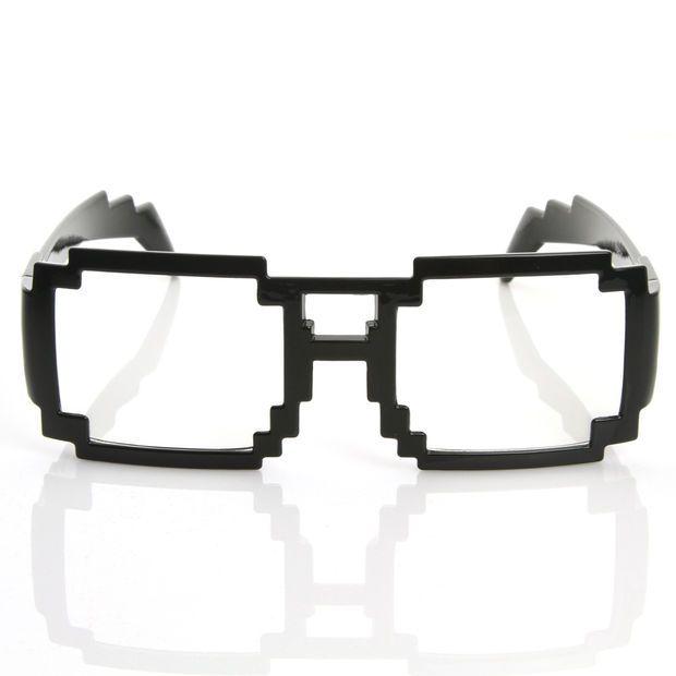 e864b2473a66 Gamer Nerd Retro Pixelated 8-Bit Clear Lens Glasses 8574
