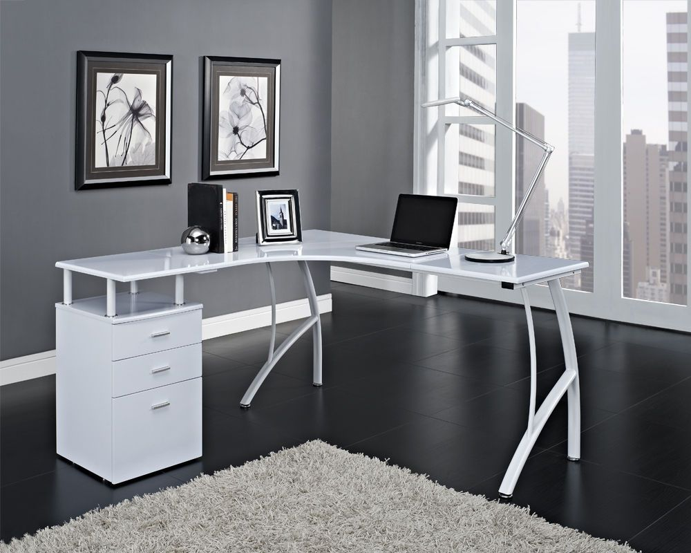 black or white corner computer desk home office pc table with 3 drawers lshaped in business office u0026 industrial office equipment u0026 supplies