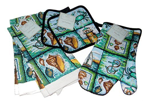 Nautical Print Kitchen Set 5 Piece Potholders Towels With Images