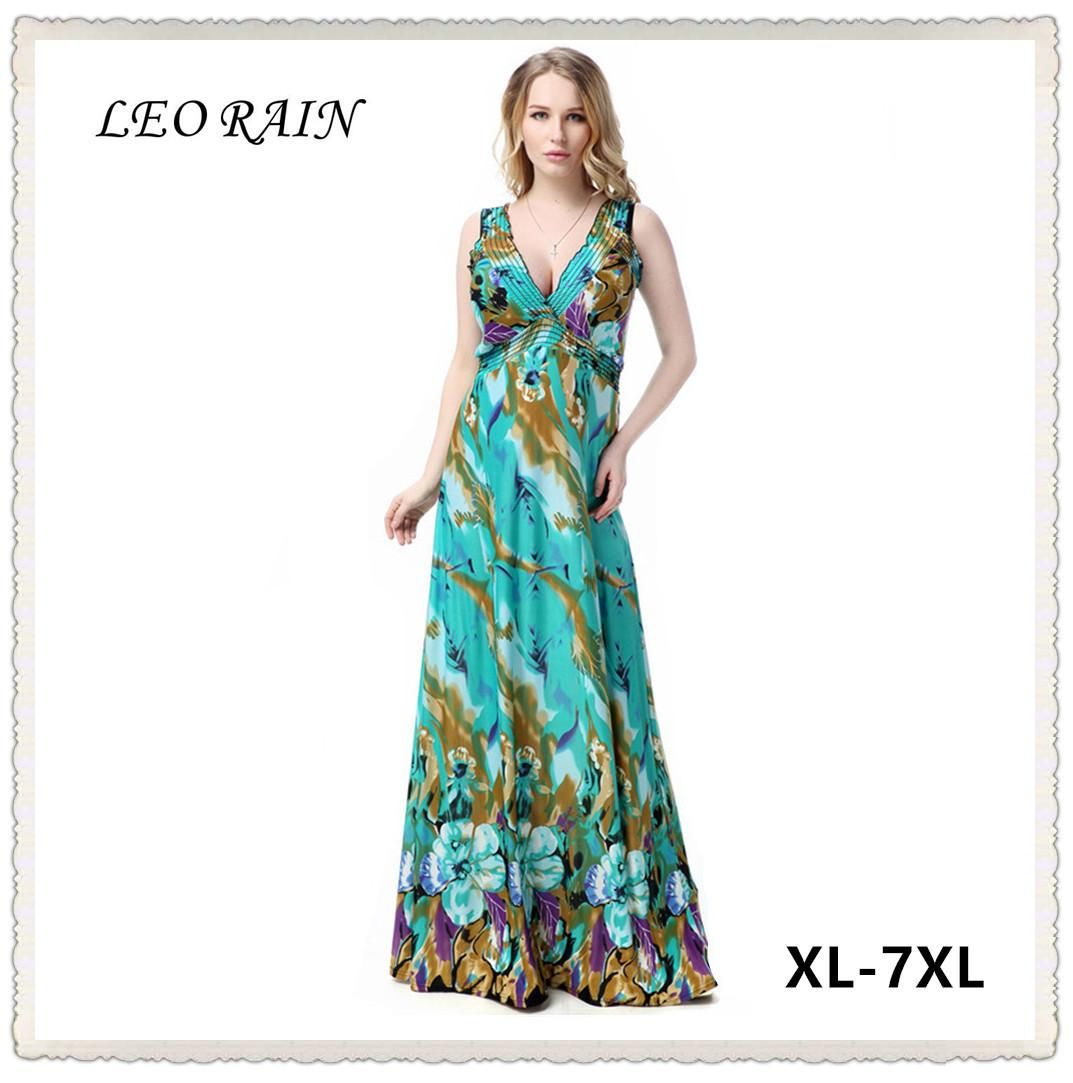 8b27d9209c2 2017 Sexy V-neck Sleeveless Beach Dress Women Summer Flower Plus Size Long  Maxi Dresses Jurk Vestido Longo Zaful 6XL 7XL LEORAIN
