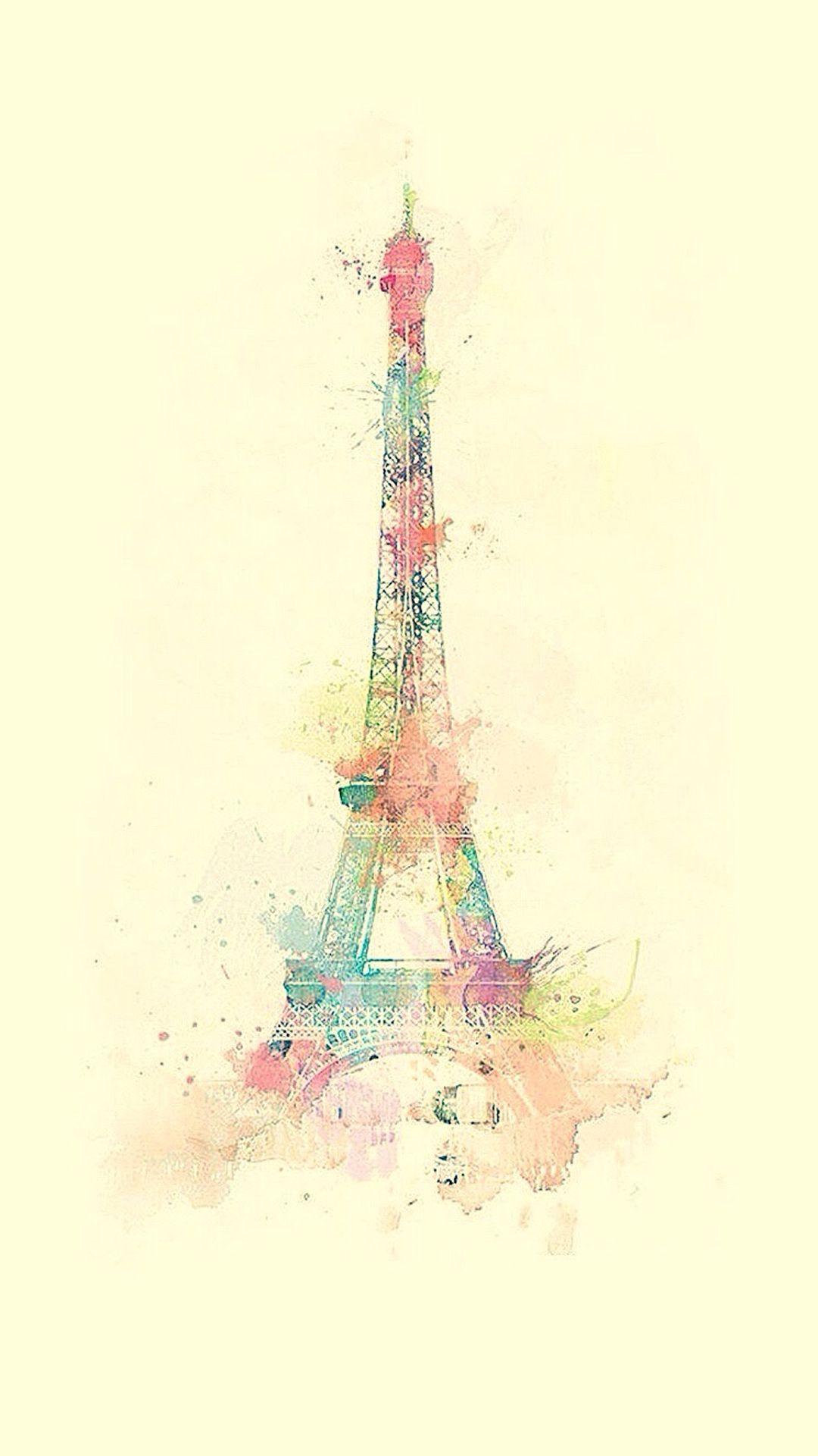 Eiffel Tower Watercolor Paint Iphone 8 Wallpapers With Images