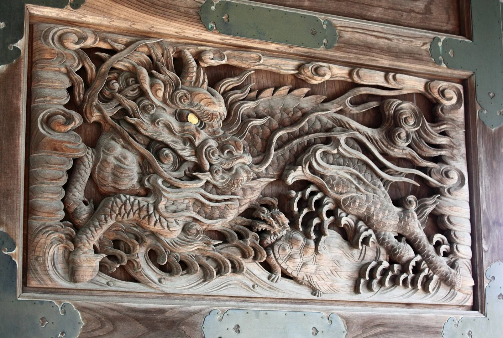 Dragon horse in wood carving