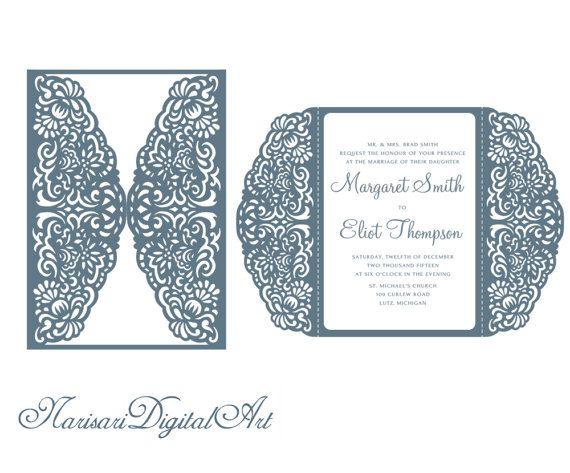 Laser cut lace Wedding invitation template 5x7 Gate fold ...