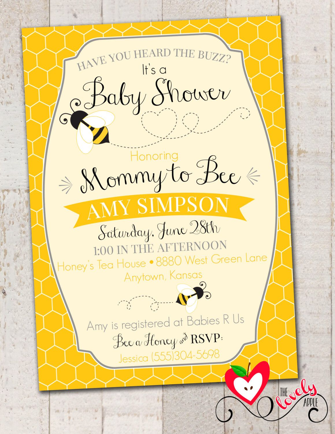 Bumble Bee Baby Shower Invitation, Printable Mommy to Bee Invite ...