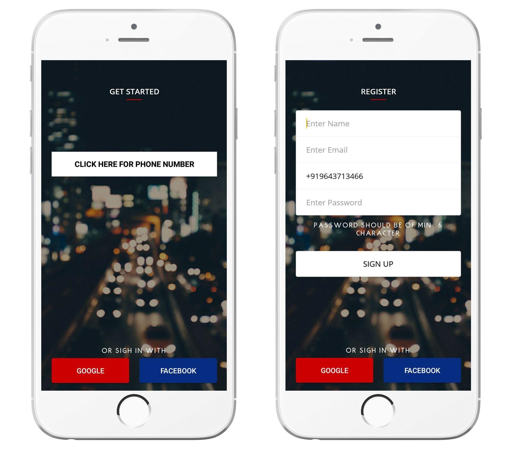 Apporio Taxi's Easy Login Options using Social Media Platforms