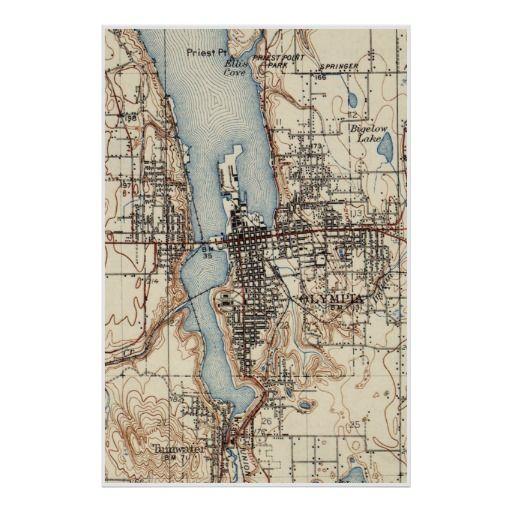 Vintage Map of Olympia Washington (1934) Poster | Vintage Map ...