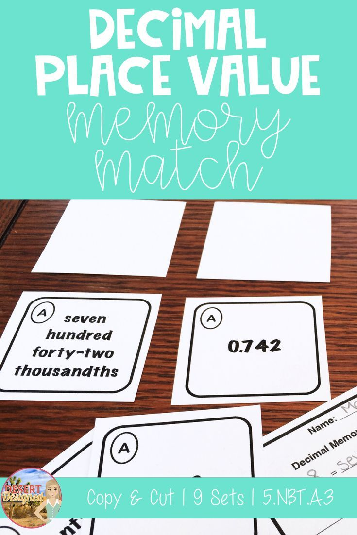 Decimal Place Value Memory Match 5th Grade Common Core | Decimal ...