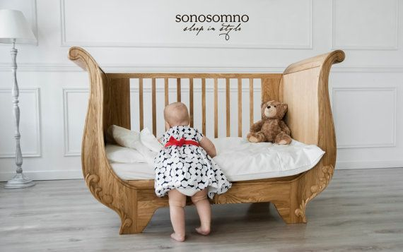 LuxusKinderbett, massives Eichenholz, Kindergartenmöbel