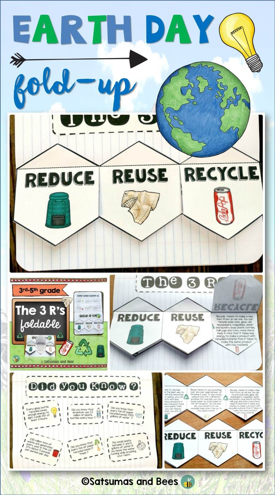 Reduce Reuse Recycle Interactive Notebook foldable3R Science