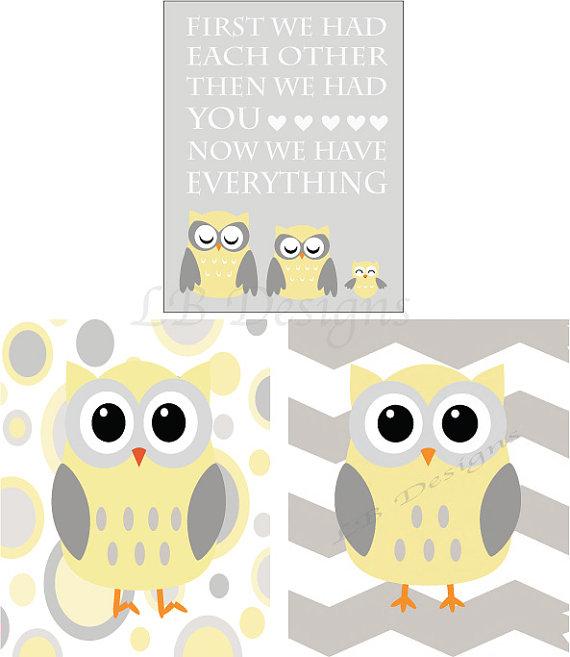 Owl Nursery Decor Woodland Nursery Prints Gender Neutral Nursery