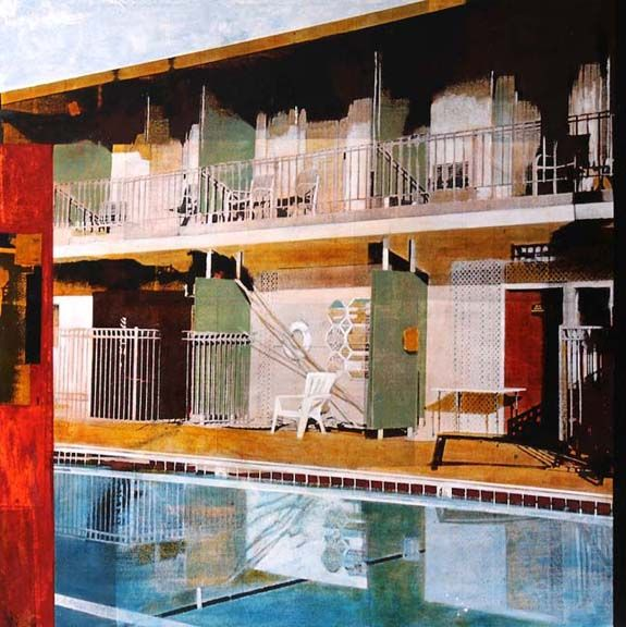 "Poolside reflection. Mixed media. 38"" x 38"""