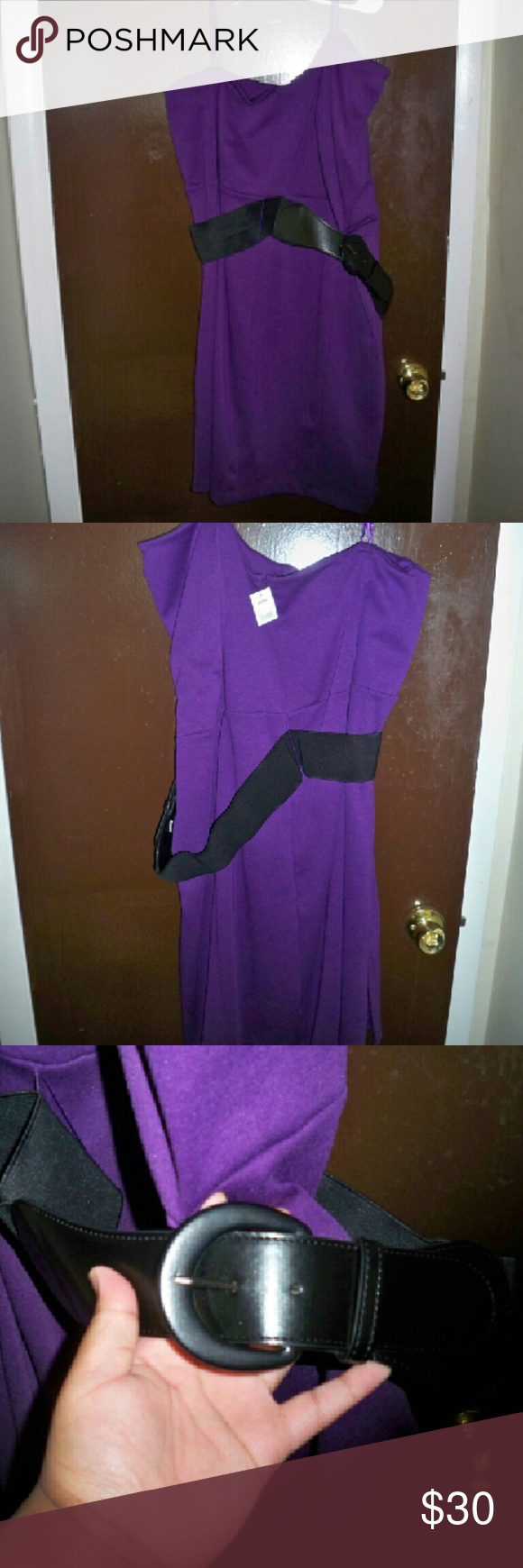 Purple knee length strapless dress Cute purple strapless dress with belt. Has been dry cleaned. Never worn. Dresses Strapless