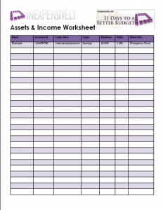 budget worksheets free printables dream house pinterest