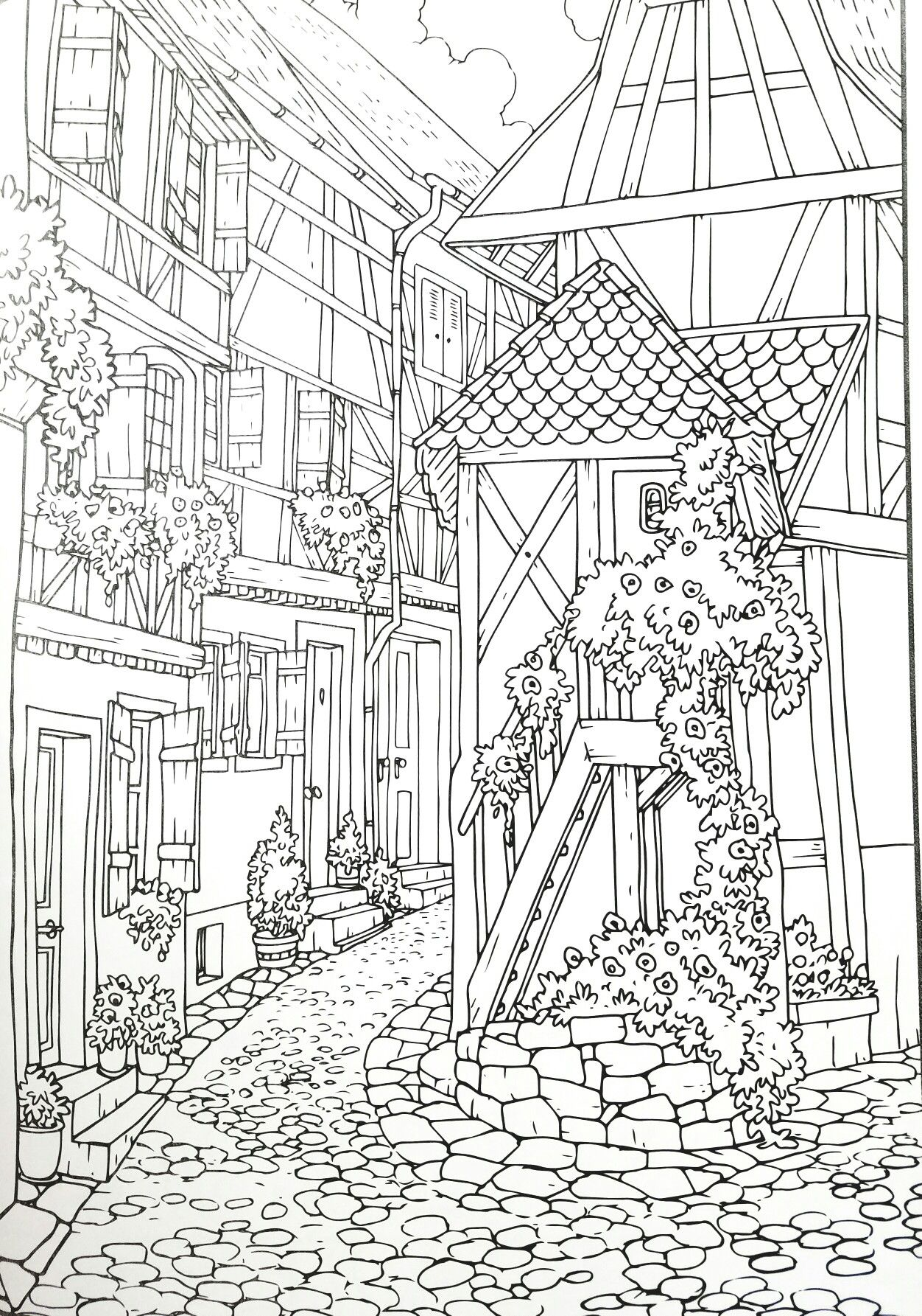 Adult Coloring Page Village With Images Coloring Pages Printable Adult Coloring Pages Adult Coloring