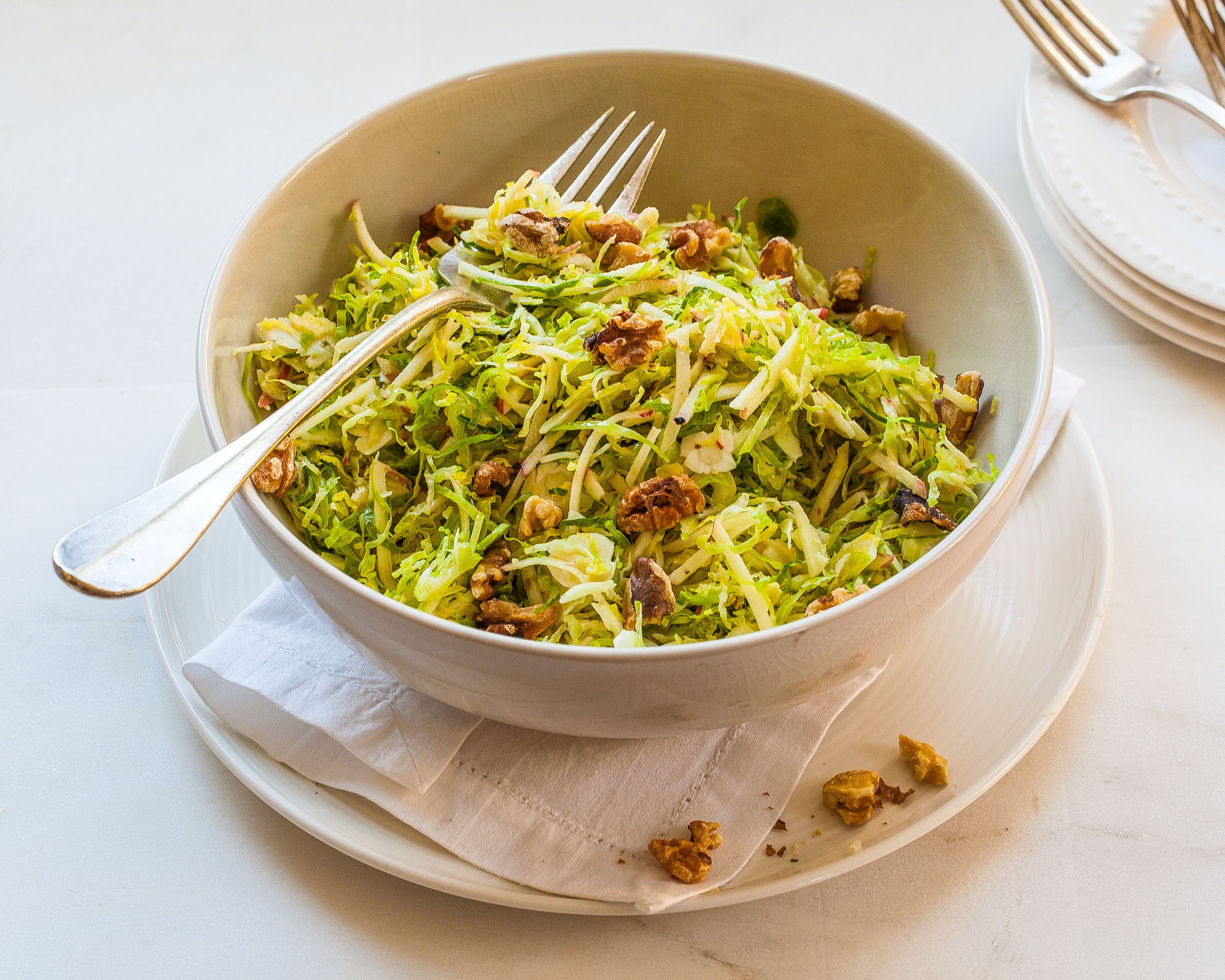 Recipe for shaved brussels sprouts with apples walnuts and mustard food forumfinder Images