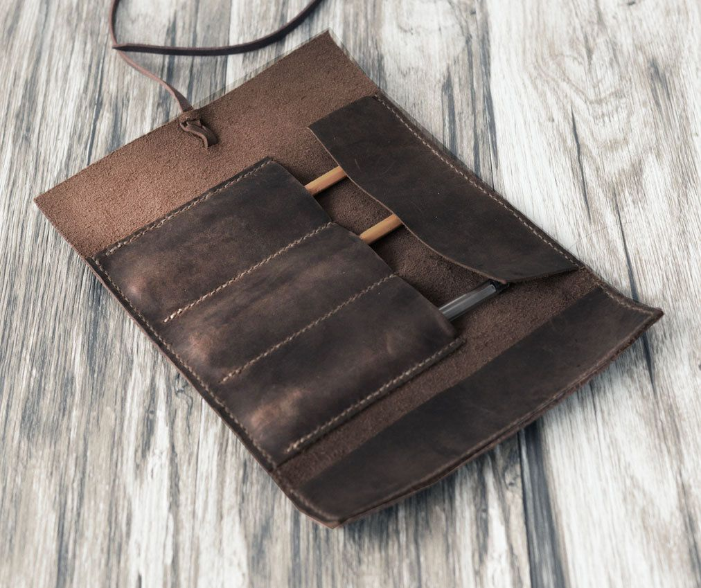 Personalized Leather Pencil Case Roll, Tool Roll, Brush