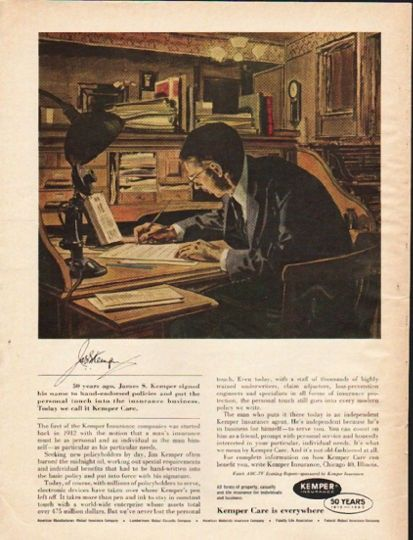 1962 Kemper Insurance Vintage Ad 50 Years Ago Business