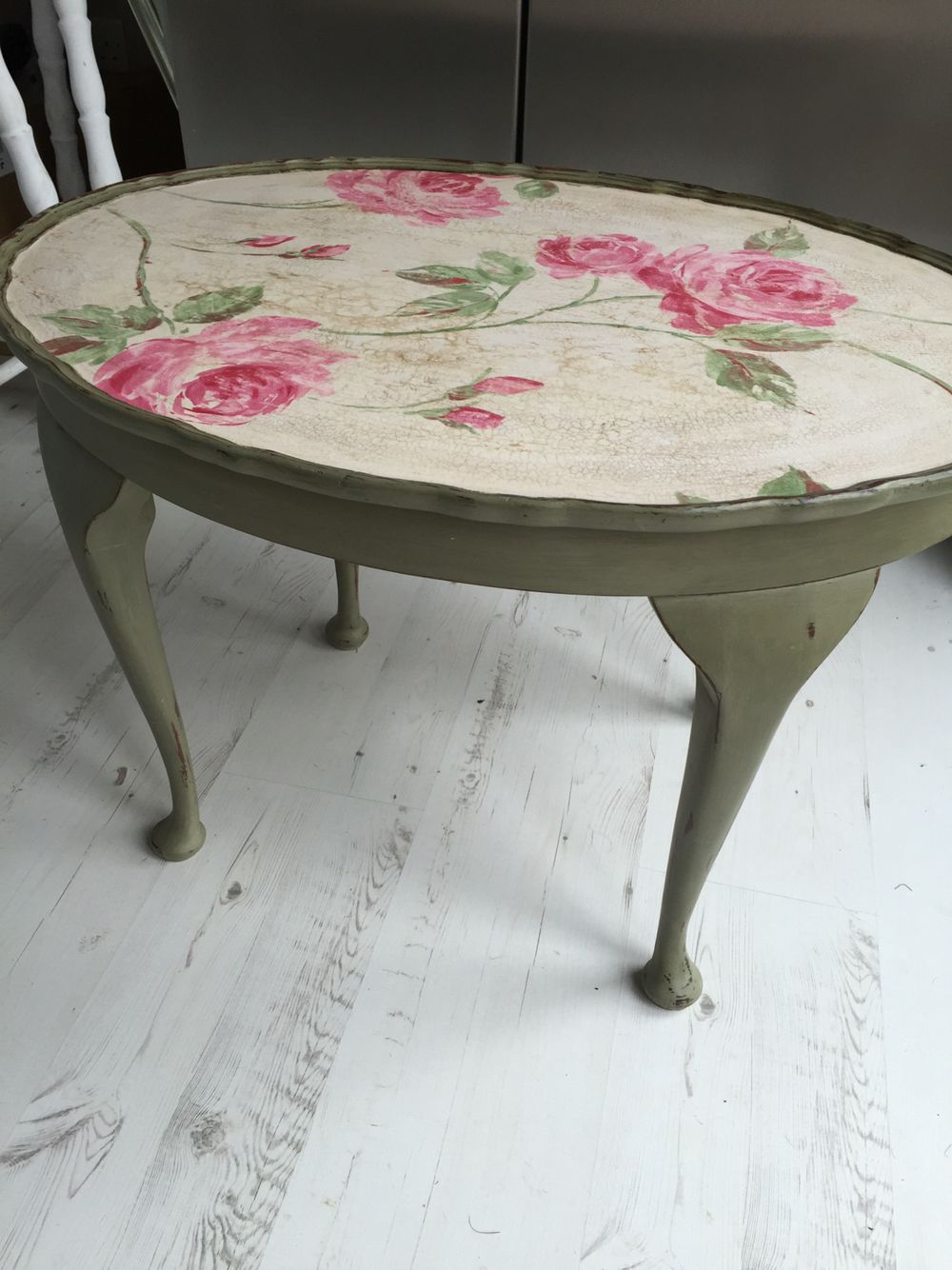 Cute Oval Coffee Table Painted Using Annie Sloan Olive Decoupaged Using A Beautiful Floral Pape Funky Painted Furniture Decoupage Coffee Table Painted Table