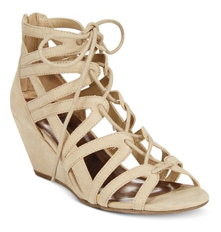 These summery cutout gladiator style wedges that also come in cognac and black. | 36 Pairs Of Heels That Won't Hurt Your Feet