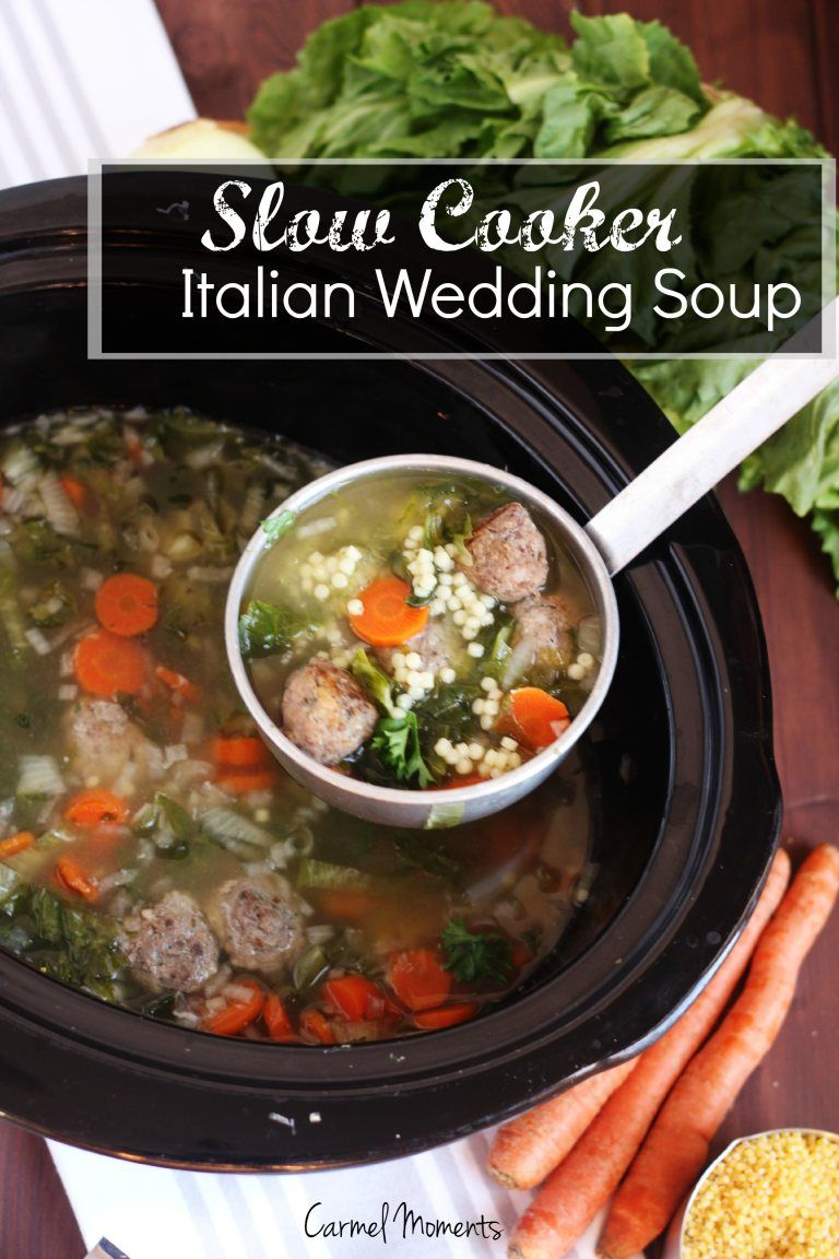 Slow Cooker Italian Wedding Soup - Authentic traditional soup. This recipe is easily made in the crock pot for a delicious homemade meal. #italianweddingsoup