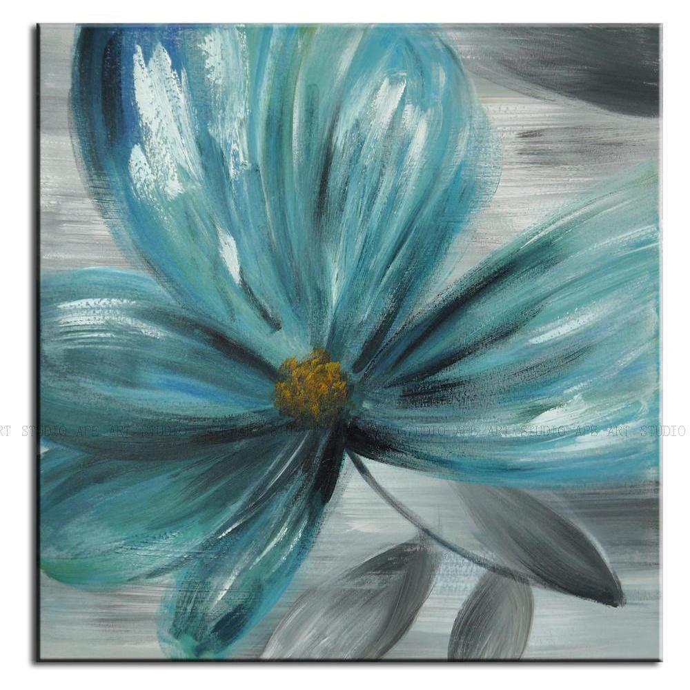 Abstract Blue Flower Paintingbeautiful Flower Artanemone Large