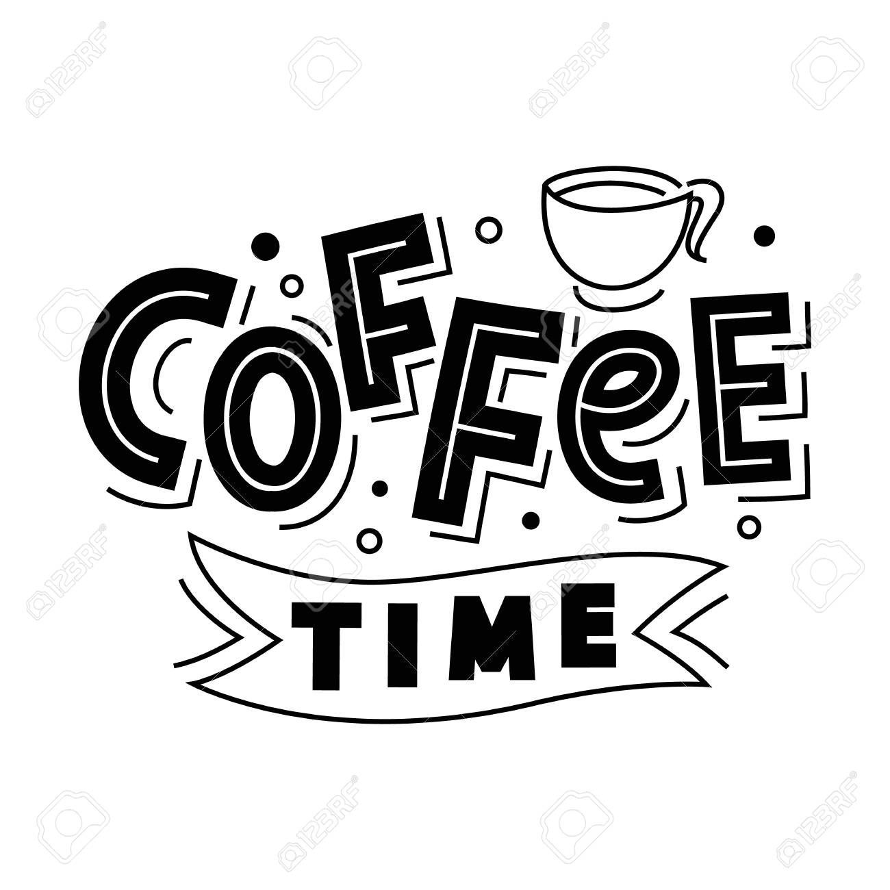 time lettering logo badge isolated on white Coffee time lettering logo badge isolated on white