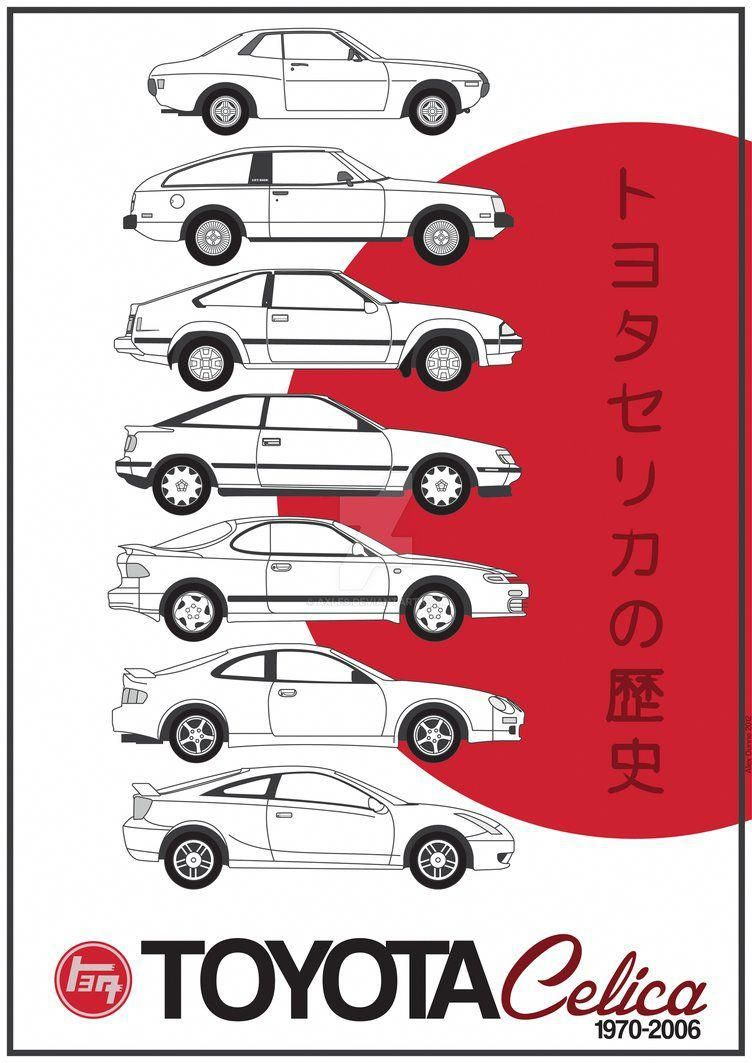 Poster Displaying The History Of The Toyota Celica Shown With Oldest Car At The Top Through Latest At The Bottom Respectively Toyota Celica Toyota Cars Toyota