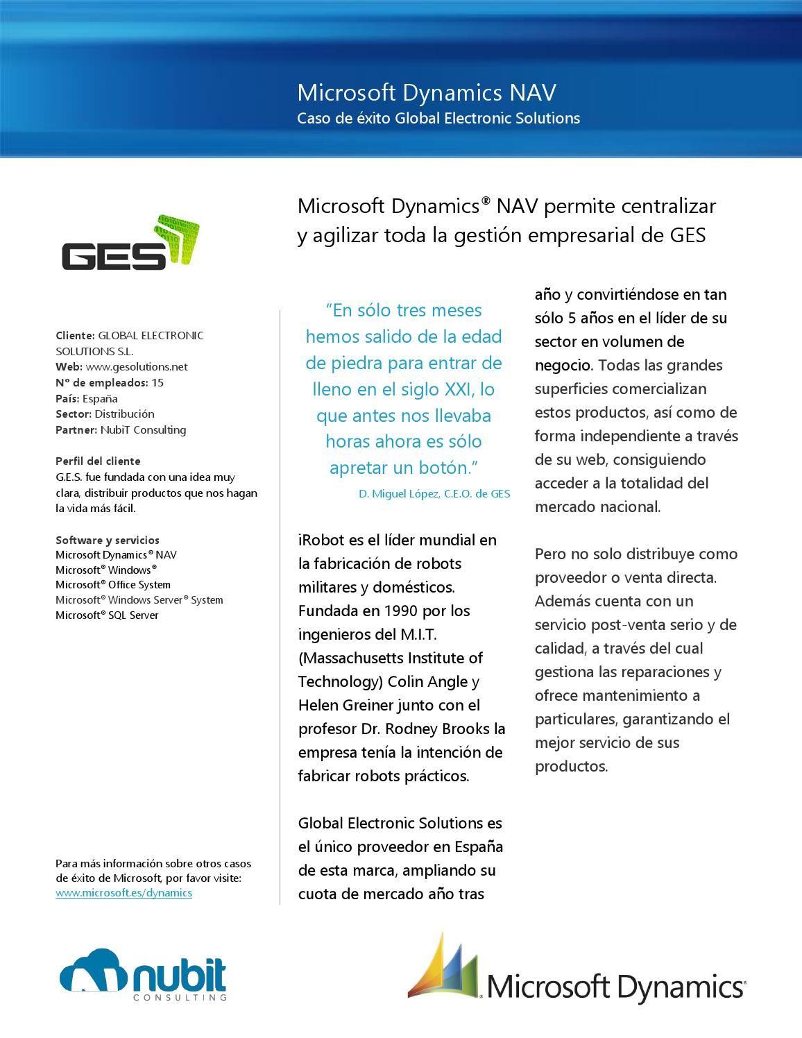 Caso de éxito de implantación de Dynamisc NAV la empresa GES, única filial española de la multinacional iRobot, dentro del sector de la robótica doméstica
