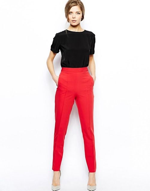 6ccf20129521 How to wear High waisted trousers. How to wear High waisted trousers Red  Pants ...
