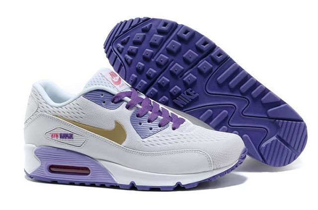 Nike Air Max 90 Premium EM Womens Shoe White/Gold-Purple-Blue