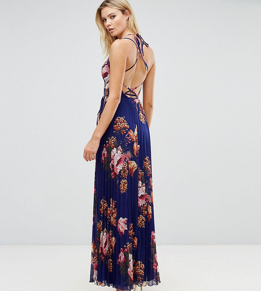 0b642e6cf47 Click for more details. Worldwide shipping. ASOS TALL Floral Cami Pleated  Maxi Dress - Multi  Tall dress by ASOS TALL