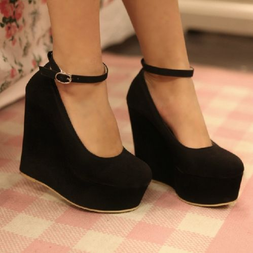 creamypink yes Style classic black wedges Closed-toe ...