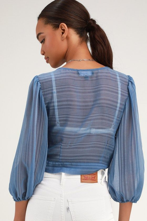 b41e0c76bef Lulus | In the Breeze Blue Sheer Long Sleeve Tie-Front Top | Size Medium