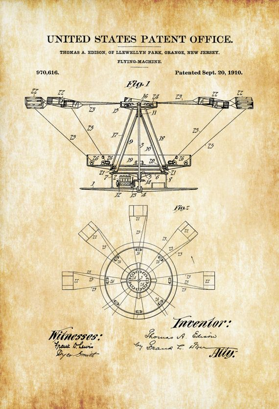 Thomas Edison Flying Machine Patent - Aircraft Decor, Vintage ...