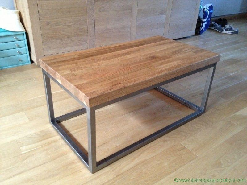 table basse plan de travail. Réalisation d'une table basse à partir d'une chute de plan de travail en bois de chêne. Création d'une structure en métal.