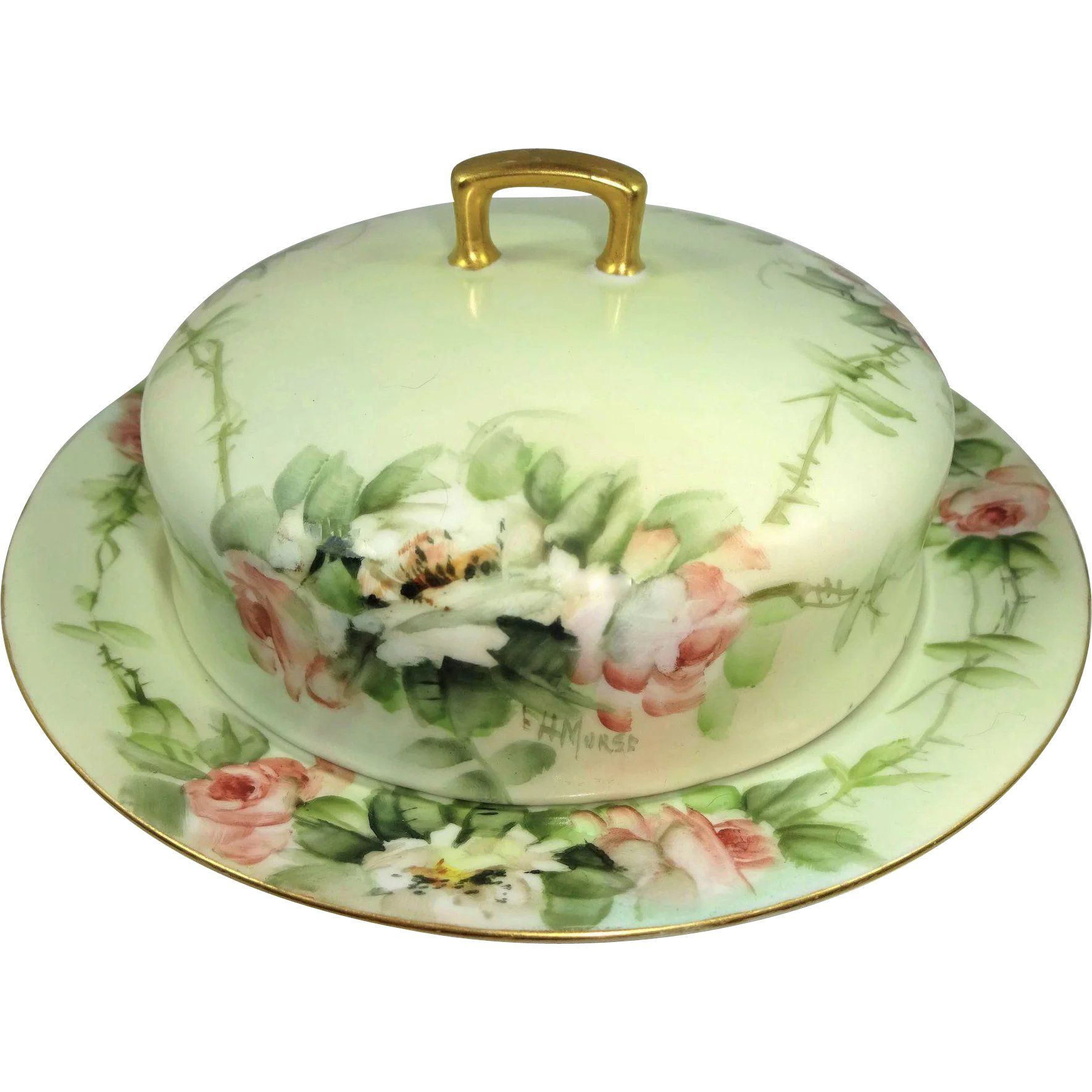 Vintage Bone China Hand Painted Butter Dish