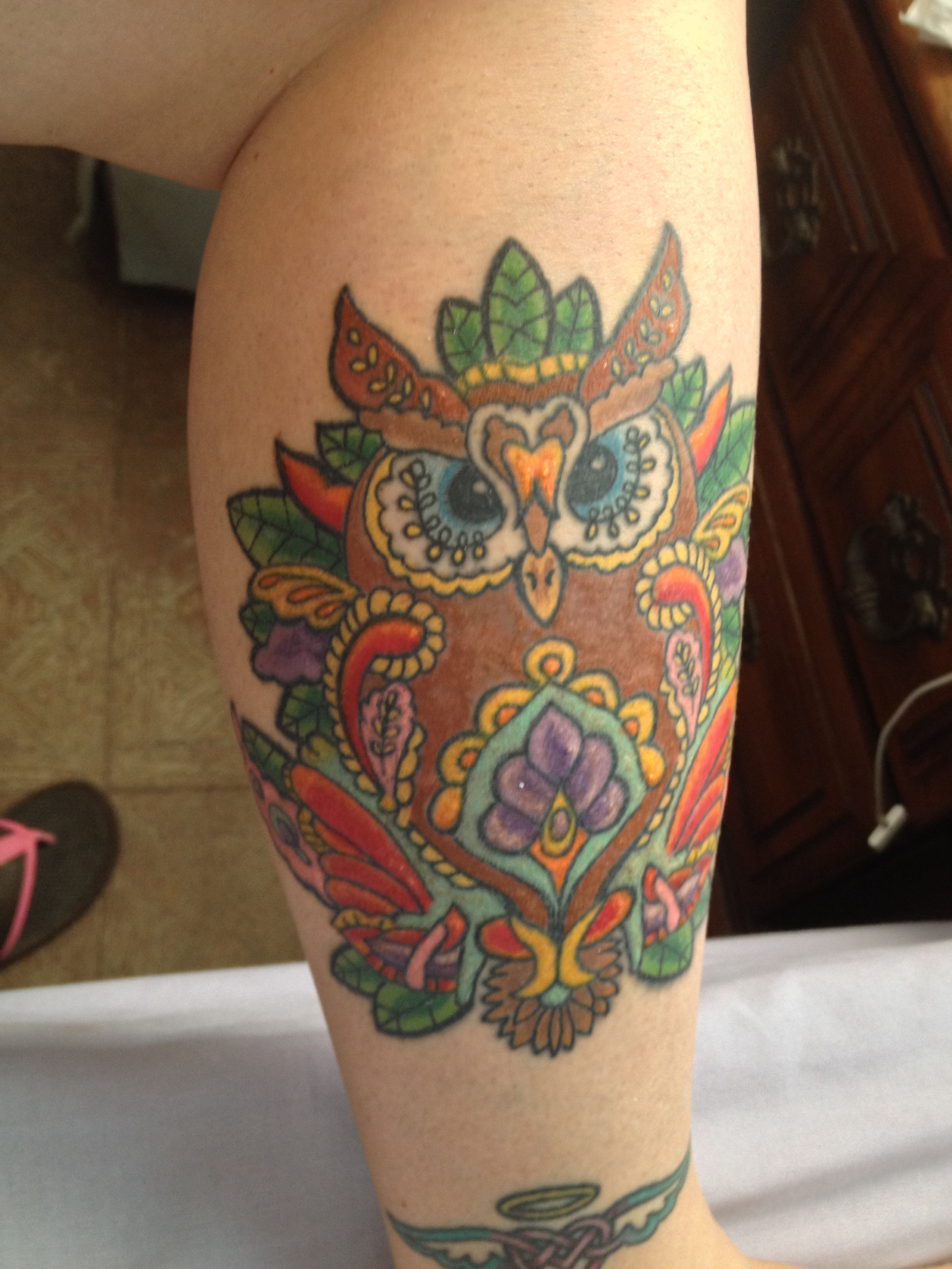 Finished owl tattoo tattoo s leaf tattoos
