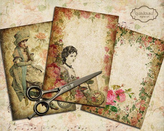 VINTAGE CARDS set 1 - Instant Download Digital Collage Sheet Digital Cards Scrapbook Paper Decoupage Paper Set of 4