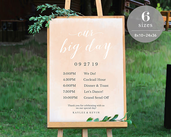 wedding timeline sign template wedding program sign printable