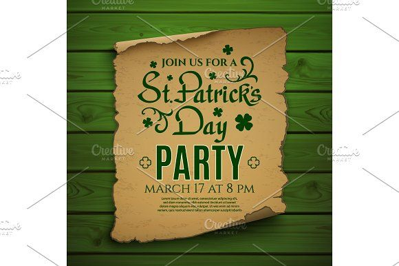 St Patricku0027s Day party invitation Graphics St Patricku0027s Day - party brochure template
