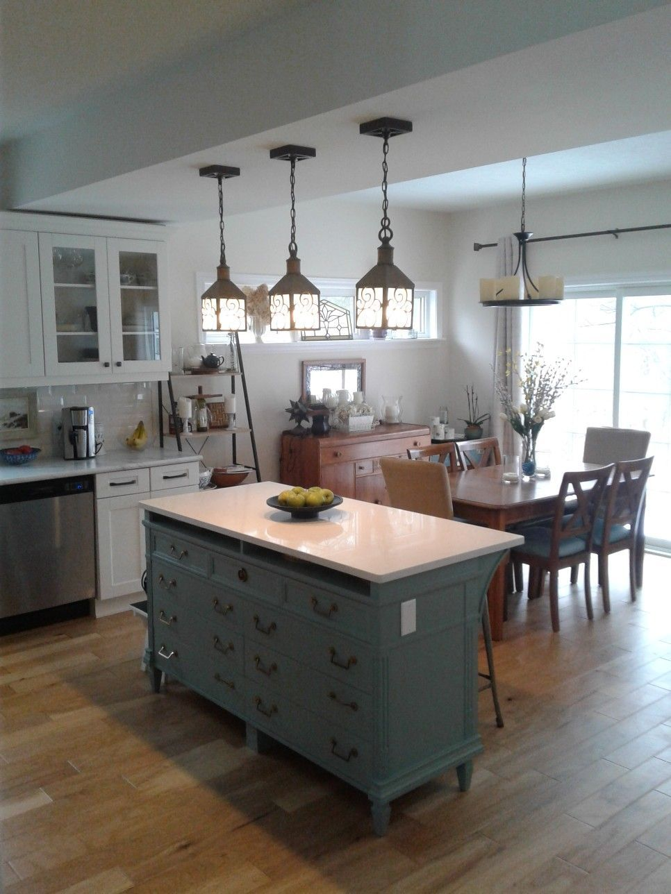 Our kitchen island made from a 9 drawer thrift store dresser ...