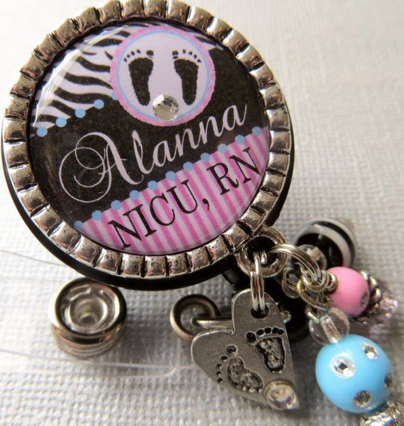 Personalized ID badge reel -NICU nurse, labor and delivery
