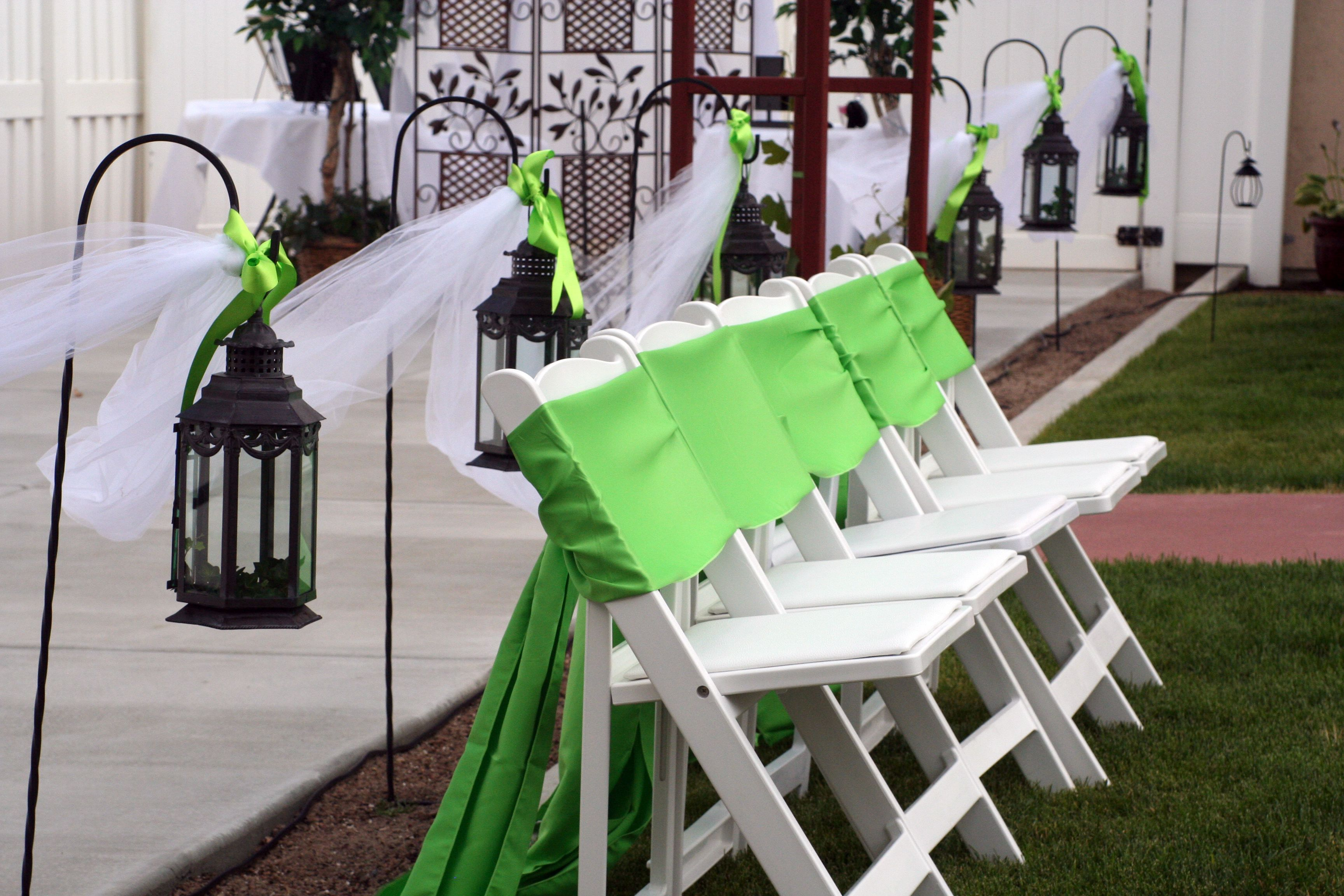 Wedding Chair Options White Resin With Lime Green Sash