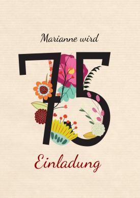 Blumenzahl 75 Einladungen 75 Geburtstag Cards