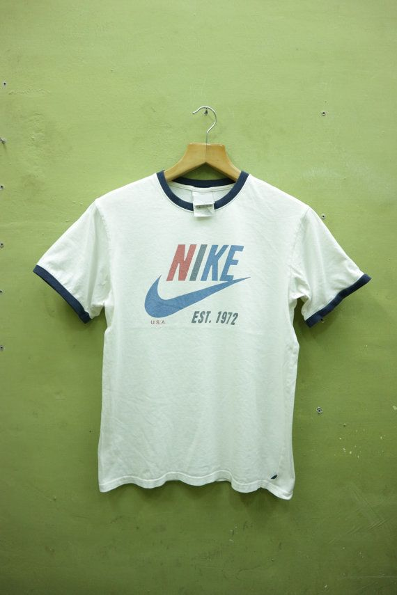 75ea3646cf83c Vintage Nike Ringer Shirt Big Logo Sports Wear Street Wear Hip hop ...