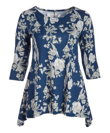 Another great find on #zulily! Blue & Gray Floral Sidetail Tunic - Plus #zulilyfinds